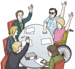 Ein runder Tisch mit Menschen, die abstimmen